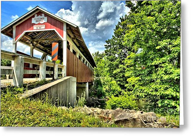 Covered Bridge Greeting Cards - Somerset Glessner Bridge Greeting Card by Adam Jewell