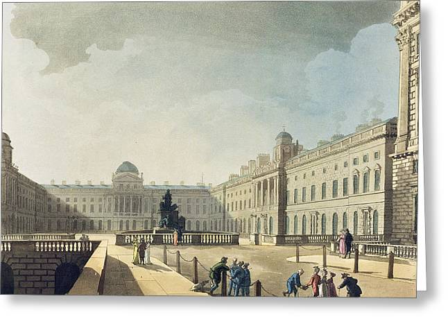1801 Greeting Cards - Somerset House, Strand, From Ackermanns Greeting Card by T. & Pugin, A.C. Rowlandson