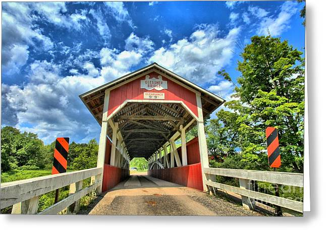 Covered Bridge Greeting Cards - Somerset PA Glessner Bridge Greeting Card by Adam Jewell