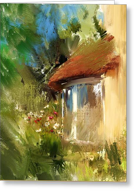 Selworthy Greeting Cards - Somerset Thatched Cottage Window  Greeting Card by Carla Parris