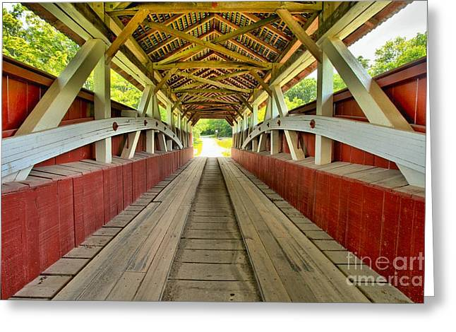 Covered Bridge Greeting Cards - Somerset Wooden Roads Greeting Card by Adam Jewell