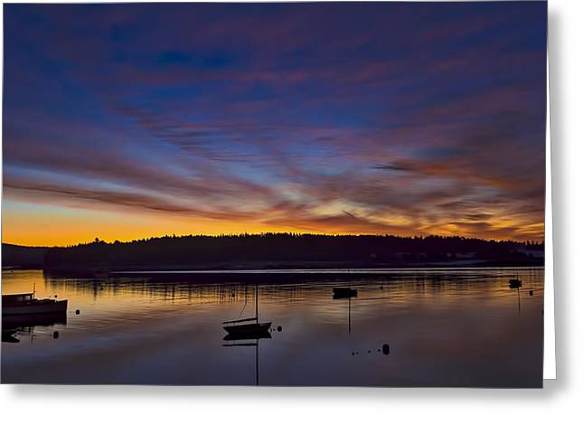 Somes Sound Greeting Cards - Somes Sound Dawn Greeting Card by David Kay