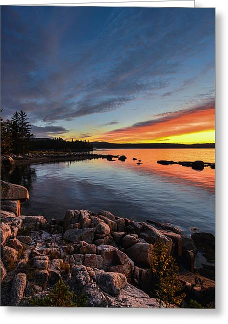 Somes Sound Greeting Cards - Somes Sound Sunset Greeting Card by Constance Sanders