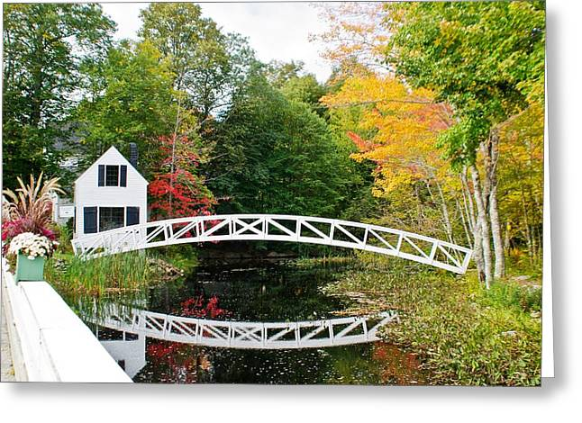 Somesville Bridge in Autumn Greeting Card by Debbie Lloyd