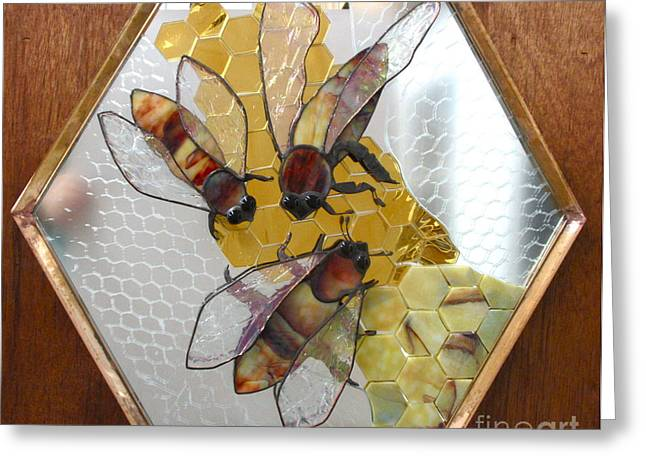 Bees Glass Art Greeting Cards - Something About Bees Greeting Card by Sherri Anderson