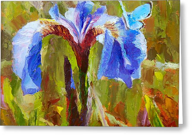 Something Blue Wildflower And Butterfly Greeting Card by Karen Whitworth