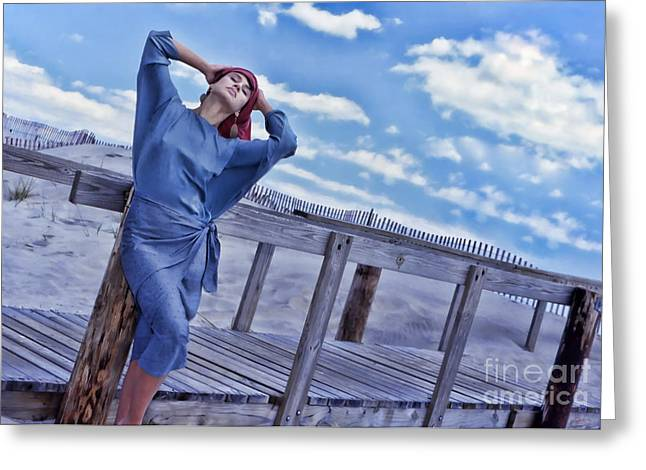 Model On Beach Greeting Cards - Something In Blue Greeting Card by Jeff Breiman