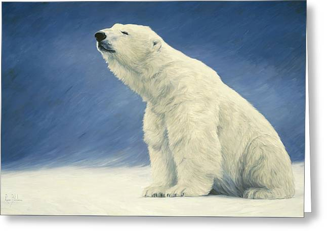 Polar Bears Greeting Cards - Something In The Air Greeting Card by Lucie Bilodeau