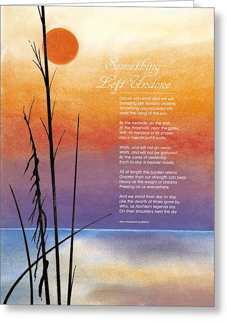 Poetry Pastels Greeting Cards - Something Left Undone Greeting Card by John Hebb