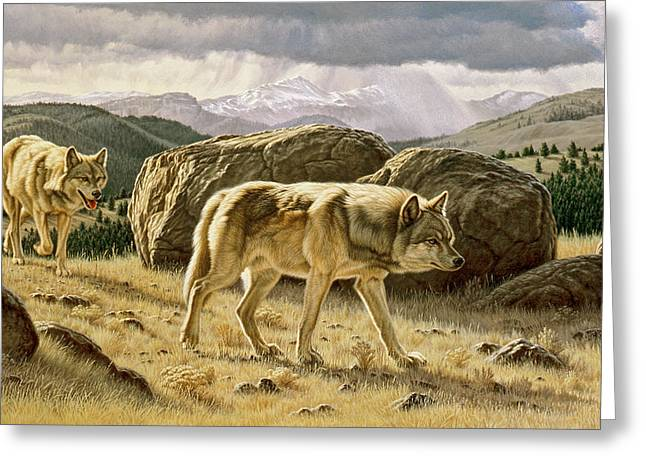 Wildlife Landscape Paintings Greeting Cards - Something on the Wind Greeting Card by Paul Krapf