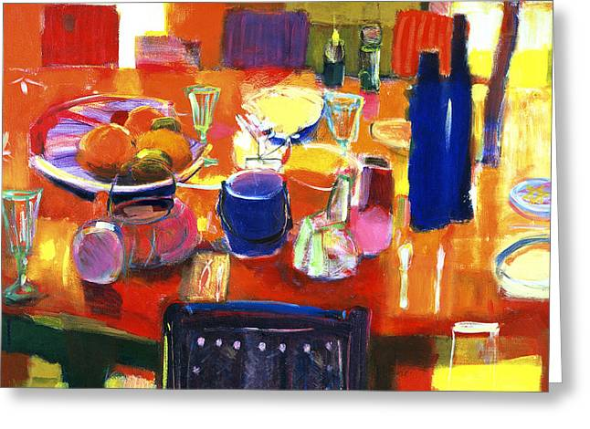 Interior Still Life Greeting Cards - Something Simple, 2000 Acrylic On Canvas Greeting Card by Martin Decent