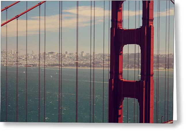 San Francisco Bay Bridge Greeting Cards - Something To Hold On To Greeting Card by Laurie Search