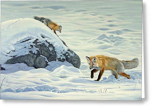 Yellowstone Wildlife Greeting Cards - Something Under the Snow Greeting Card by Paul Krapf