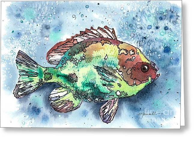 Brightly Colored Fish Greeting Cards - Somethings Fishy Greeting Card by Barbara Jewell