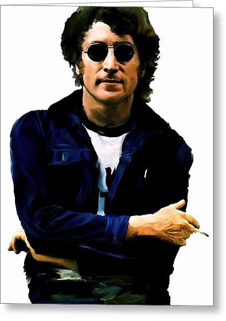 John Lennon Lithograph Greeting Cards - Sometime In NYC  John Lennon Greeting Card by Iconic Images Art Gallery David Pucciarelli
