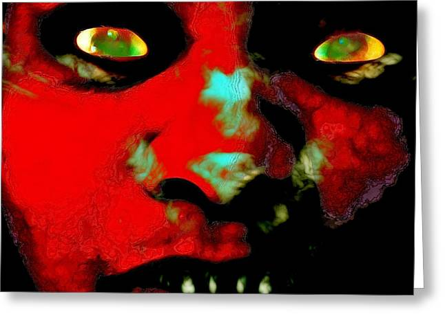 Self-portrait Greeting Cards - Sometimes He Creeps In Greeting Card by Devalyn Marshall