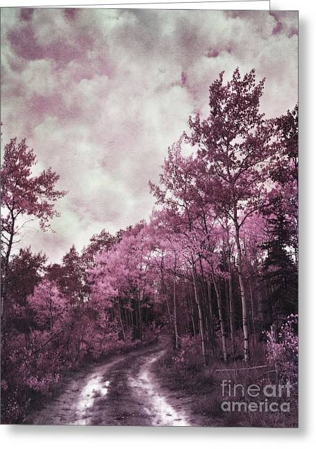 Birch Tree Greeting Cards - Sometimes My World Turns Pink Greeting Card by Priska Wettstein