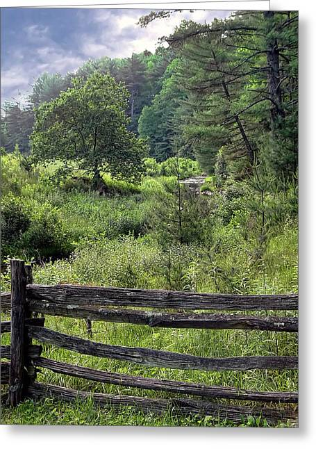 Split Rail Fence Greeting Cards - Somewhere Along The Parkway Greeting Card by Carolyn Fletcher