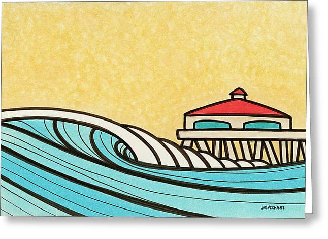 Surfer Art Greeting Cards - Somewhere Between 7 and 9 Greeting Card by Joe Vickers