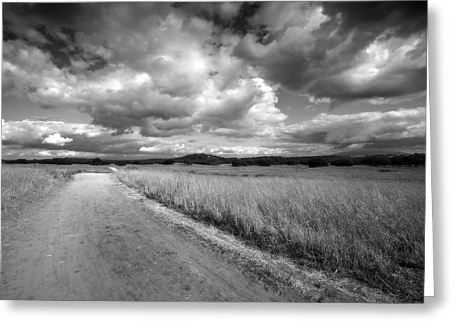Big Sky Country Greeting Cards - Somewhere Down the Road Greeting Card by Peter Tellone