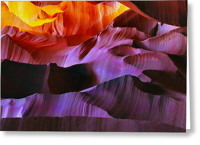 Caves Greeting Cards - Somewhere in America series - Transition of the Colors in Antelope Canyon Greeting Card by Lilia D
