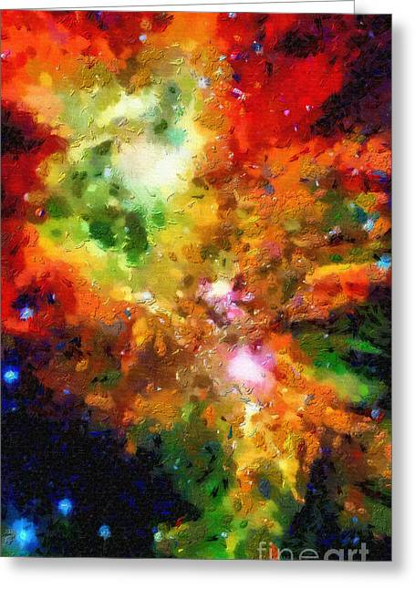 Outer Space Paintings Greeting Cards - Somewhere in outer space Greeting Card by Magomed Magomedagaev