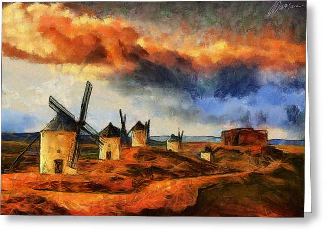 Consuegra Greeting Cards - Somewhere in Spain Greeting Card by Marina Likholat