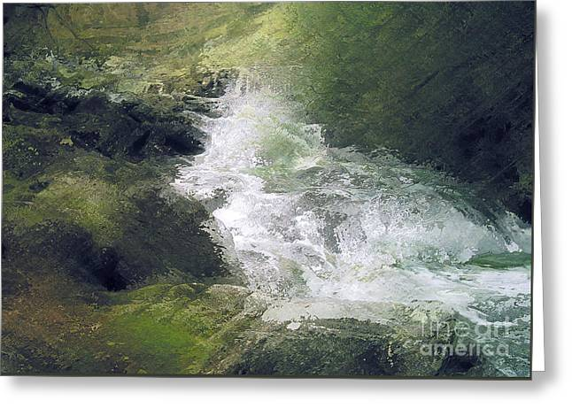 Waterfall Glass Art Greeting Cards - Somewhere only we Know 3 Greeting Card by David Hargreaves