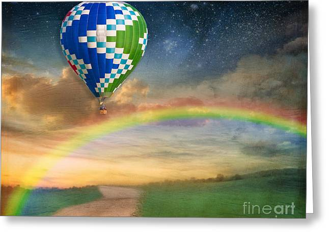 Hot Air Greeting Cards - Somewhere Over the Rainbow Greeting Card by Juli Scalzi