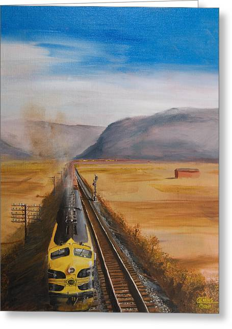 Freight Train Greeting Cards - Somewhere West of Corning Greeting Card by Christopher Jenkins