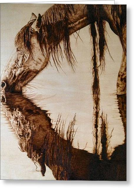 Wild Horse Pyrography Greeting Cards - Somewhere West of Laramie Greeting Card by Adam Owen