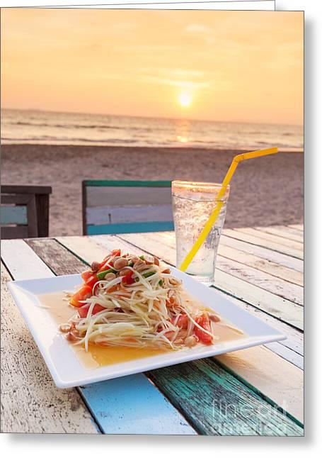Papayas Greeting Cards - Somtum Thai Salad Greeting Card by Atiketta Sangasaeng