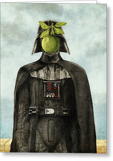 Apples Drawings Greeting Cards - Son of Darkness Greeting Card by Eric Fan