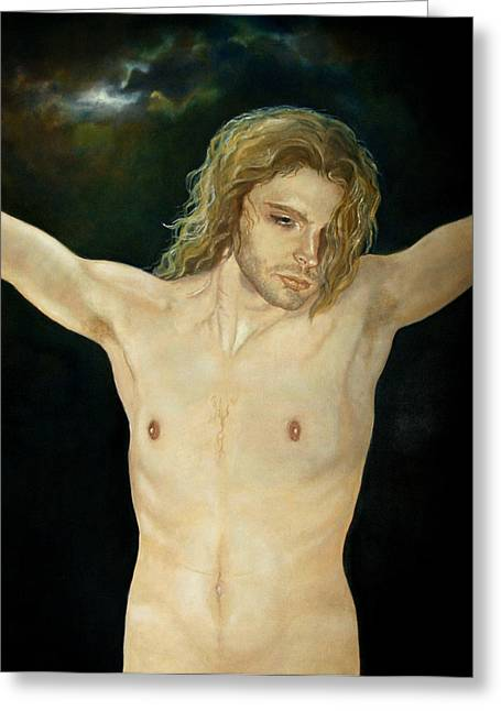 Religious Paintings Greeting Cards - Son Of Man Greeting Card by Jane Baghori