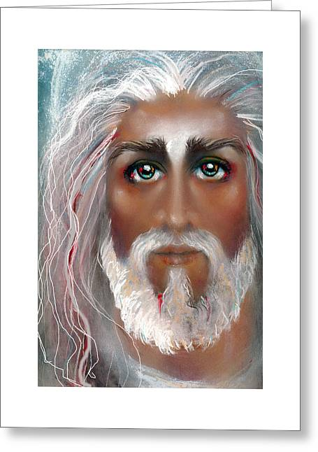 Thomas Pastels Greeting Cards - SON OF MAN Pastel Eikons of Christ Greeting Card by Vicki Thomas