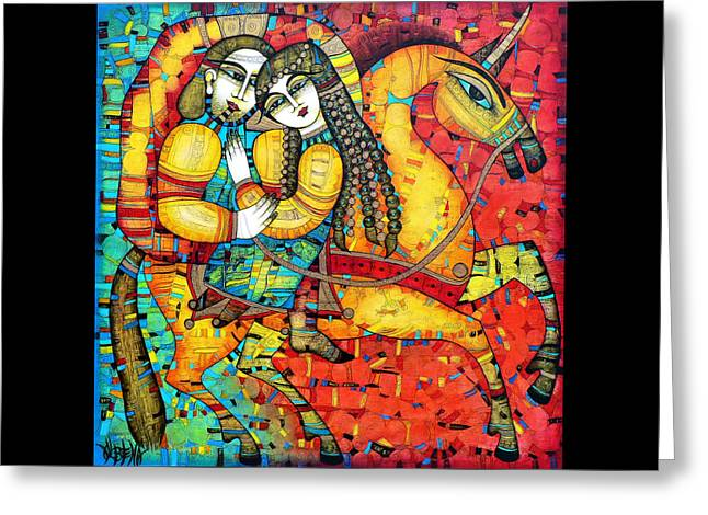 Yellow Greeting Cards - SONATA for two and unicorn Greeting Card by Albena Vatcheva