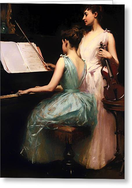 Playing Musical Instruments Greeting Cards - Sonata Greeting Card by Irving Wiles