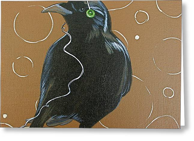 Crow. Bird Music Greeting Cards - Song Bird Greeting Card by Eva Trinczek