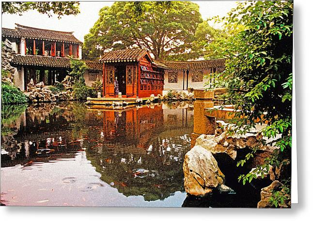 Yuan Dynasty Greeting Cards - Song dynasty garden Greeting Card by Dennis Cox ChinaStock