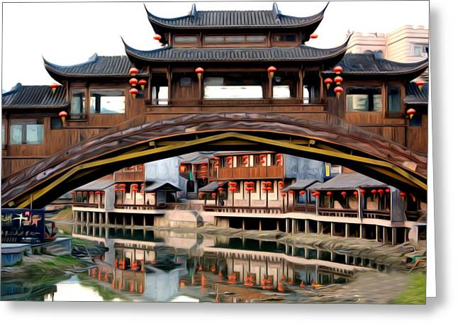 Southern Province Paintings Greeting Cards - Song dynasty town in dali Greeting Card by Lanjee Chee