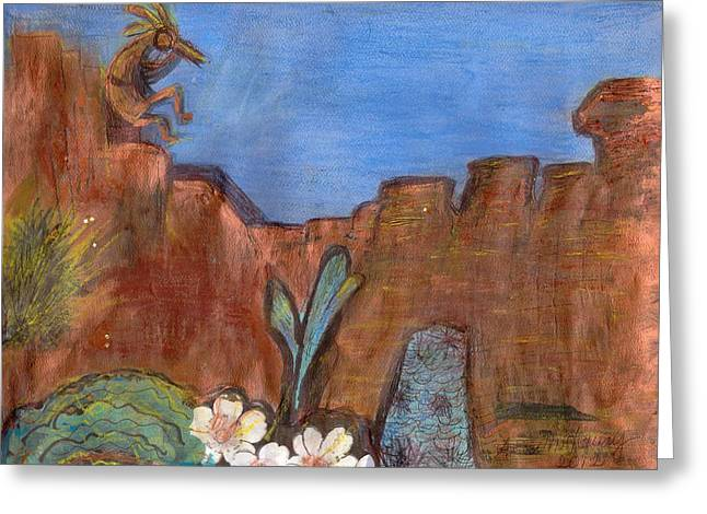 Anne-elizabeth Whiteway Greeting Cards - Song of Kokopelli Greeting Card by Anne-Elizabeth Whiteway