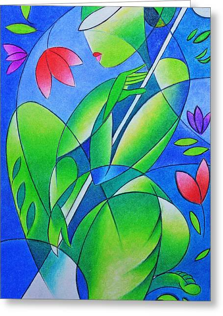 Lute Paintings Greeting Cards - Song Of Nature Greeting Card by Amar Singha