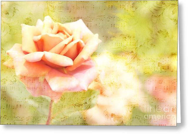 Song Of Spring II - Lovely Pale Orange Rose Greeting Card by Beverly Claire Kaiya
