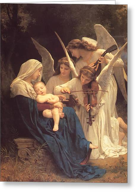 Angel work Paintings Greeting Cards - Song of the Angels Greeting Card by Bouguereau