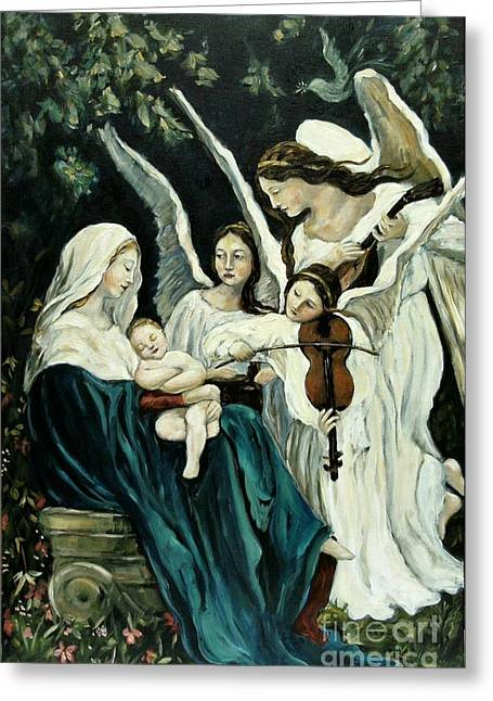 Carrie Joy Byrnes Greeting Cards - Song of the Angels Greeting Card by Carrie Joy Byrnes