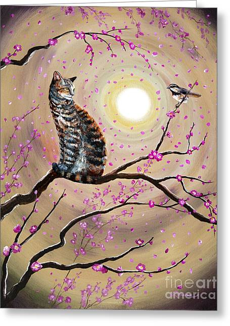 Zen Greeting Cards - Song of the Chickadee Greeting Card by Laura Iverson