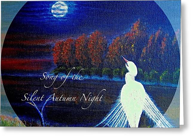 Nature Scene With Moon Digital Art Greeting Cards - Song of the Silent  Autumn Night in the Round with Text  Greeting Card by Kimberlee  Baxter