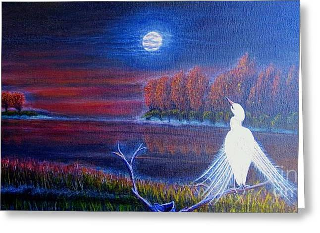 Nature Scene With Moon Digital Art Greeting Cards - Song of the Silent Autumn Night Greeting Card by Kimberlee  Baxter
