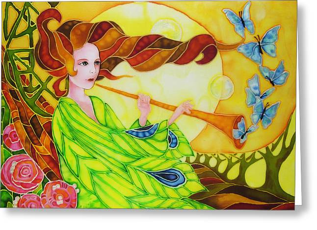 Symbolic Tapestries - Textiles Greeting Cards - Song of the wind Greeting Card by Violetta Kurbanova
