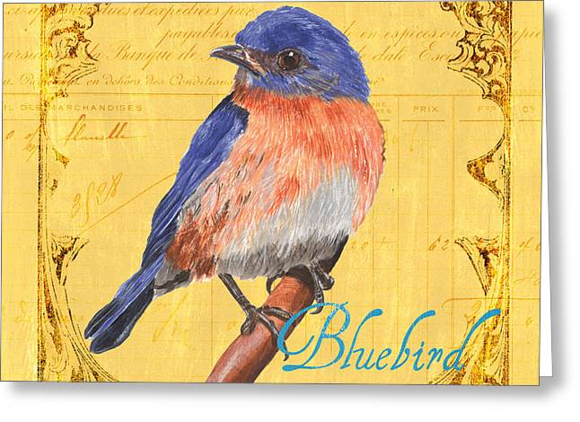 White Paintings Greeting Cards - Colorful Songbirds 1 Greeting Card by Debbie DeWitt